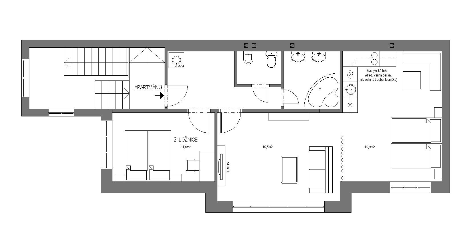 Půdorys apartmánů